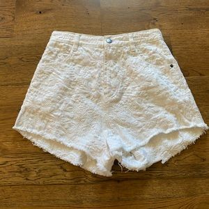 FLEE PEOPLE cute off white shorts with embroidery